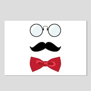 Gentleman Scholar Mustache Bowtie Glasses Postcard
