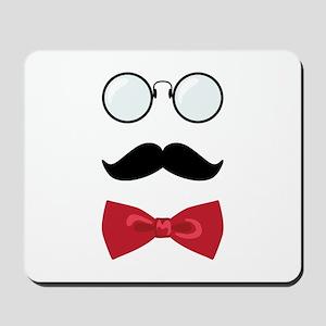 Gentleman Scholar Mustache Bowtie Glasses Mousepad