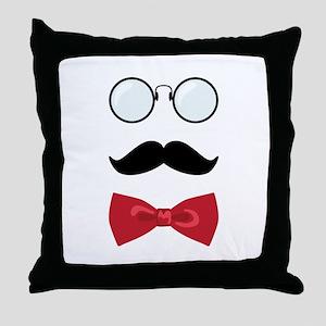 Gentleman Scholar Mustache Bowtie Glasses Throw Pi