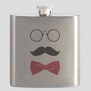 Gentleman Scholar Mustache Bowtie Glasses Flask