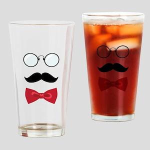 Gentleman Scholar Mustache Bowtie Glasses Drinking