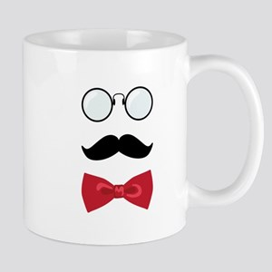 Gentleman Scholar Mustache Bowtie Glasses Mugs