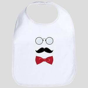 Gentleman Scholar Mustache Bowtie Glasses Bib