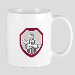 Butcher With Meat Cleaver Shield Retro Mugs