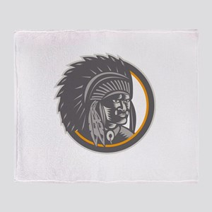 Native American Indian Chief Head Woodcut Throw Bl