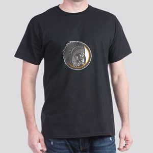 Native American Indian Chief Head Woodcut T-Shirt