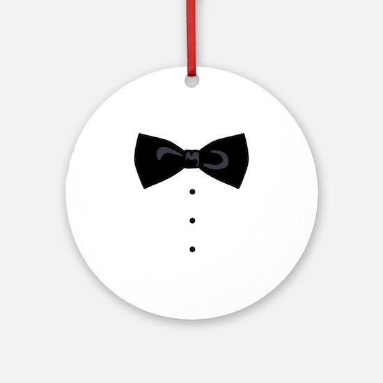 Black Bowtie Groom Gentlemen Ornament (Round)