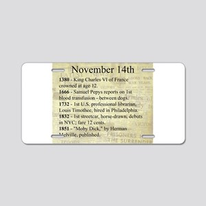 November 14th Aluminum License Plate