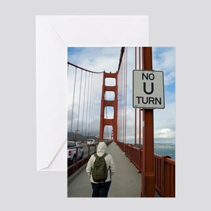golden gate predestrian Greeting Card