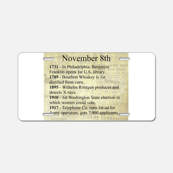 November 8th Aluminum License Plate
