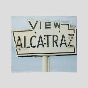 View Alcatraz Sign Throw Blanket