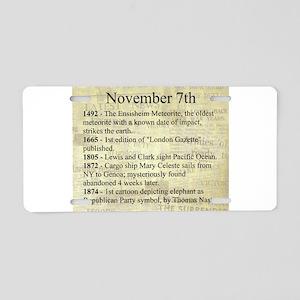 November 7th Aluminum License Plate