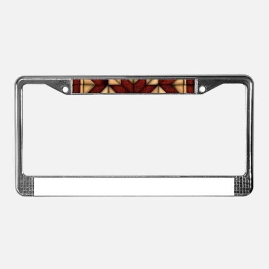 Wooden Quilt License Plate Frame