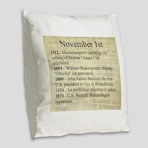 November 1st Burlap Throw Pillow