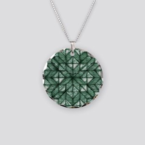 Green Marble Quilt Necklace Circle Charm