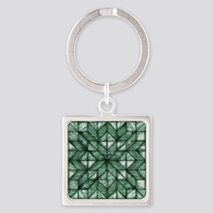 Green Marble Quilt Square Keychain
