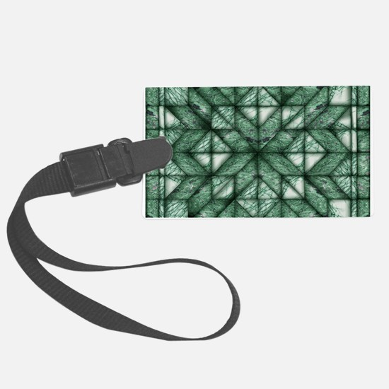 Green Marble Quilt Luggage Tag