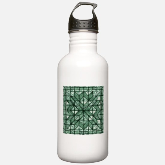 Green Marble Quilt Water Bottle
