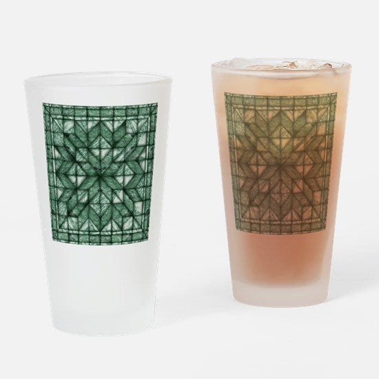 Green Marble Quilt Drinking Glass