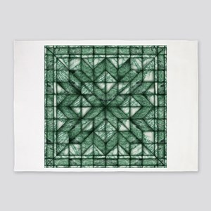 Green Marble Quilt 5'x7'Area Rug