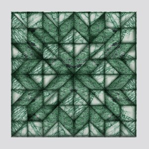 Green Marble Quilt Tile Coaster