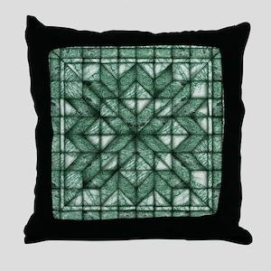 Green Marble Quilt Throw Pillow