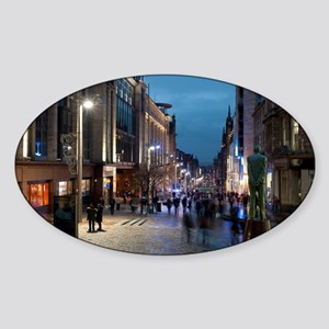 Buchanan street Glasgow at night Sticker (Oval)