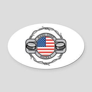 USA Hard Core Hockey Oval Car Magnet