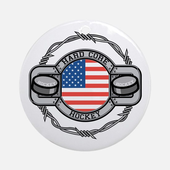 USA Hard Core Hockey Ornament (Round)