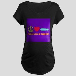 Peace Love & Zeppelin Maternity Dark T-Shirt