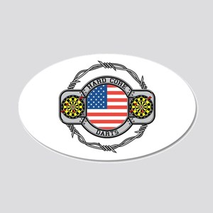USA Hard Core Darts 20x12 Oval Wall Decal
