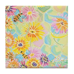 Honey Bee Happy Tile Coaster