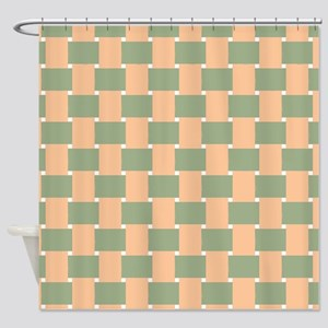 Woven Olive And Peach Shower Curtain