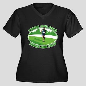 Mens Track a Women's Plus Size V-Neck Dark T-Shirt