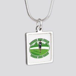 Mens Track and Field Silver Square Necklace