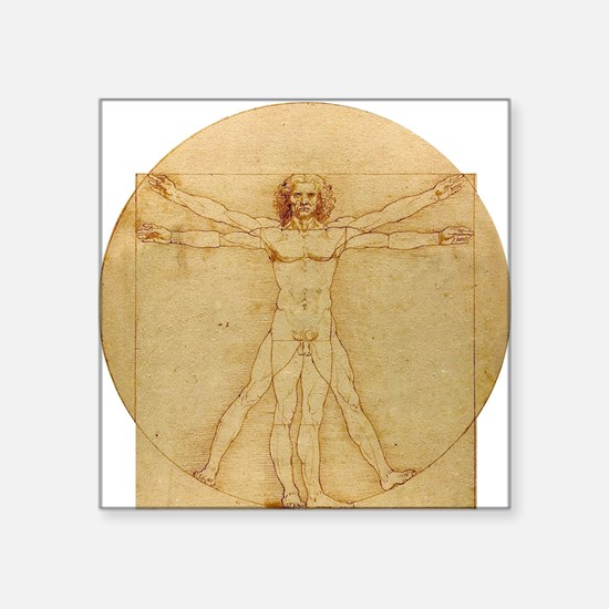 "Leonardo Da Vinci Vitruvian Square Sticker 3"" x 3"""