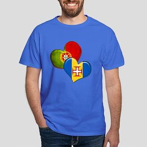 Portugal and Madeira hearts Dark T-Shirt