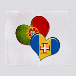Portugal and Madeira hearts Throw Blanket