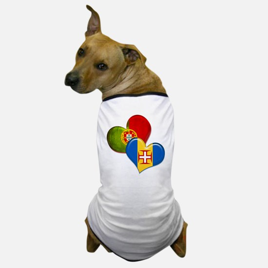 Portugal and Madeira hearts Dog T-Shirt