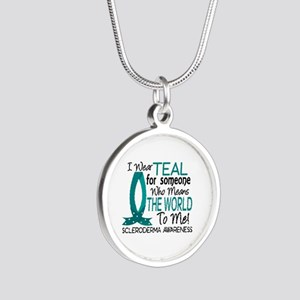 Scleroderma MeansWorldToMe1 Silver Round Necklace