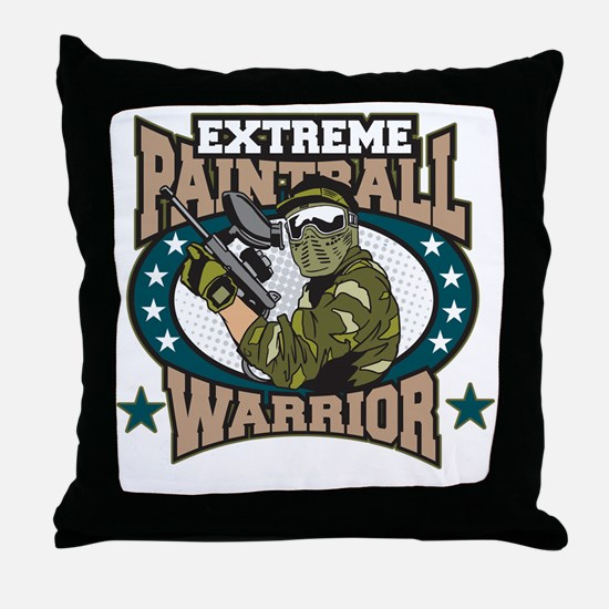 Extreme Paintball Warrior Throw Pillow