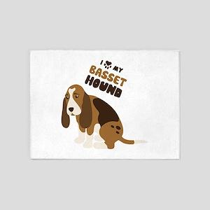 I Love My Basset Hound 5'x7'Area Rug