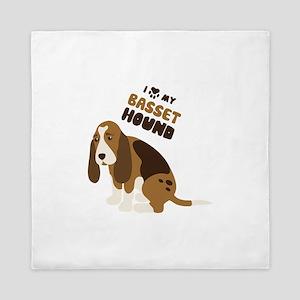 I Love My Basset Hound Queen Duvet