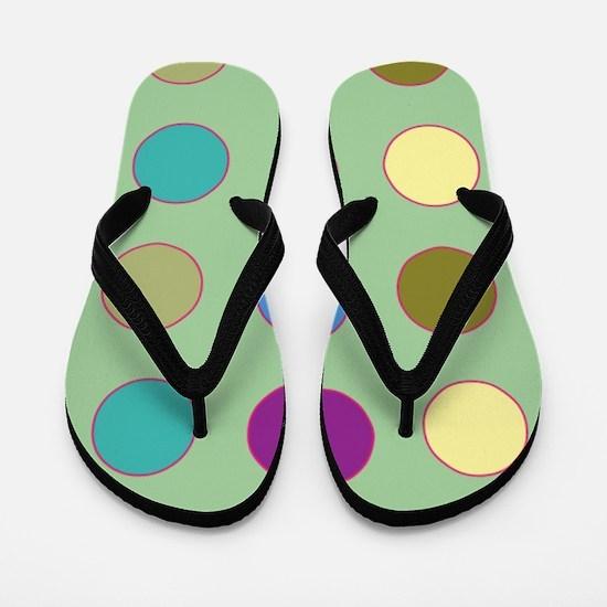 Polka Dots on Mint Flip Flops