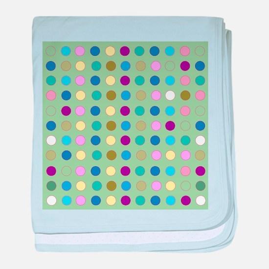 Polka Dots on Mint baby blanket
