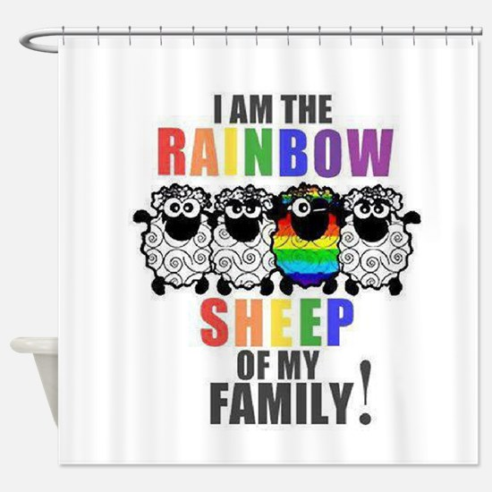 Rainbow Family Sheep Shower Curtain