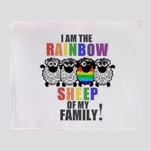 Rainbow Family Sheep Throw Blanket