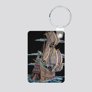 Galleon On Velvet Keychains