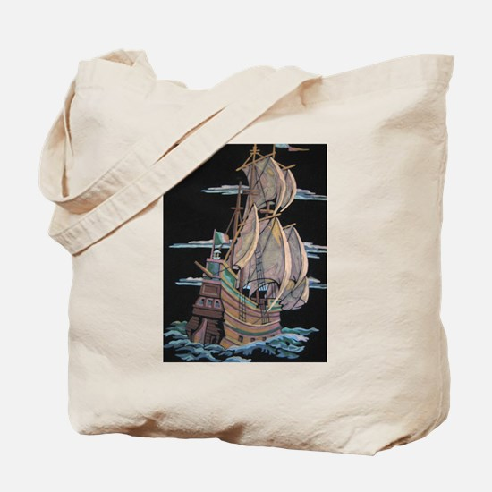 Galleon On Velvet Tote Bag