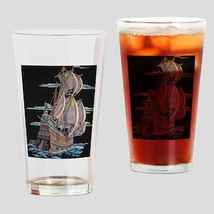 Galleon On Velvet Drinking Glass